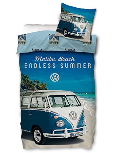 Ropa de cama VW Bulli 135 x 200 80 x 80 funda de almohada de algodón funda nórdica Volkswagen Juego [con cremallera] Ropa de cama reversible VW Bus I VW regalos para hombres con Öko-Tex Standard 100