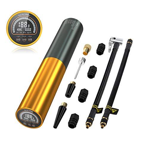 AUTDER Akku Elektrische Luftpumpe Mini, 0-120PSI, 3000mAh, Akku Kompressor Fahrrad Luftpumpe mit 100 Lumen LED und Licht LCD Bildschirm, Luftverdichter für Auto, Fahrrad, Motorrad, Basketball MEHRWEG