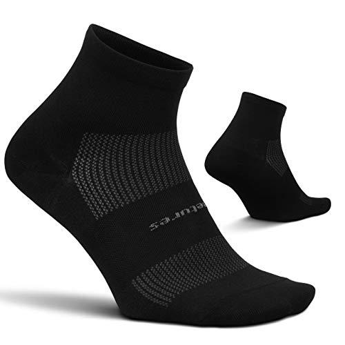 Feetures High Performance Ultra Light Quarter- Running Socks for Men & Women, Moisture Wicking- Medium, Black