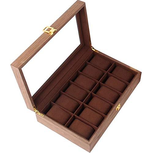 IG Vitrine Storage Box 12-Slot Massivholz-Uhr-Kasten-Organisator-Fall Glasabdeckung Juwelier Aufbewahrungsbox Geburtstag Geschenk-Vitrine Mit