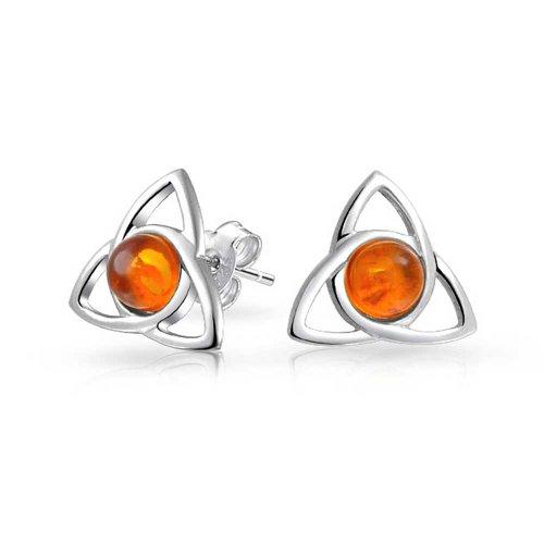 Irische Triquetra Keltisch Trinity Knot Winzige Orange Bernstein Ohrstecker Für Damen 925 Sterling Silber Poliert 13MM