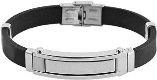 Brillibrum ID-armband gummi rostfritt stål med graveringstallrik silver guld läderarmband svart partner smycken vänskapsar...