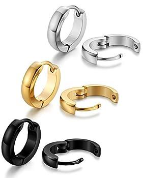 Jstyle Stainless Steel Mens Womens Hoop Earrings Huggie Ear Piercings 12mm