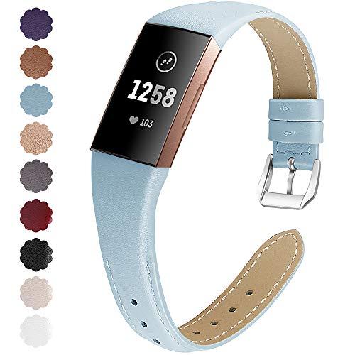 KIMILAR Armbänder Kompatibel mit Fitbit Charge 4 / Charge 3 Armband Leder,Ersatzband Zweifarbig Band Uhrenarmband für Charge 4/3/SE Fitness Tracker Damen Herren -SkyBlue,S