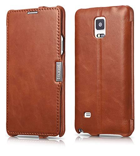 ICARER Tasche passend für Samsung Galaxy Note 4 / SM-N910, Hülle mit echtem Leder, Schutz-Hülle seitlich klappbar, Ultra-Slim Cover, dünne Handy-Hülle, Etui im Vintage Erscheinungsbild, Braun