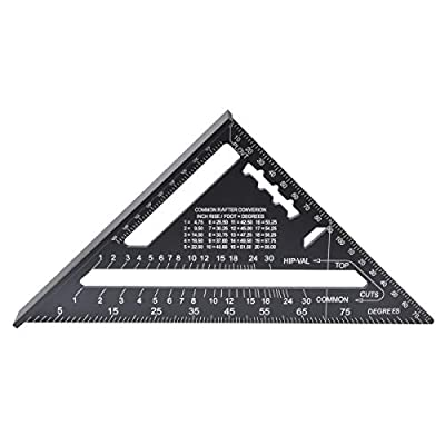 KATUR 7 Inch Johnny Square, Premium Rafter Square, Aluminum Rafter Carpenter Triangle Square Measuring Layout Tool (7 Inch)
