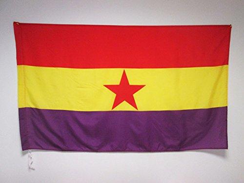 AZ FLAG Bandera ESPAÑA Republicana Estrella ROJA 150x90cm para Palo - Bandera DE LA Republica ESPAÑOLA 90 x 150 cm