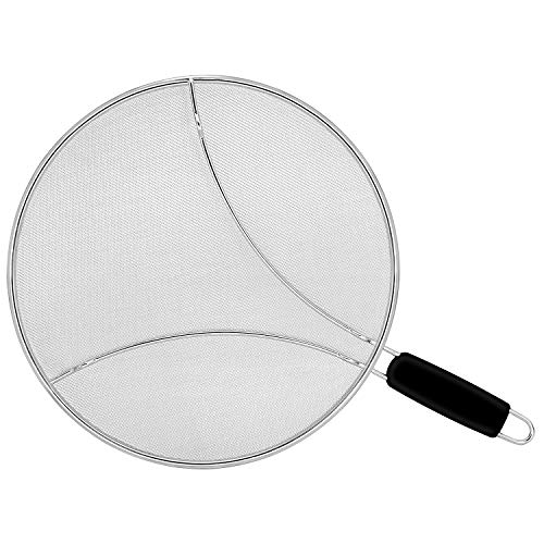 Oil/Grease Splatter Screen for Fry Pan 11.3'. Hot Oil Splash Guard, Prevent, and Protects Skin from Burns. Splatter Guard for Stove Cooking Keeps Kitchen Clean Stainless Steel Iron Skillet Lid