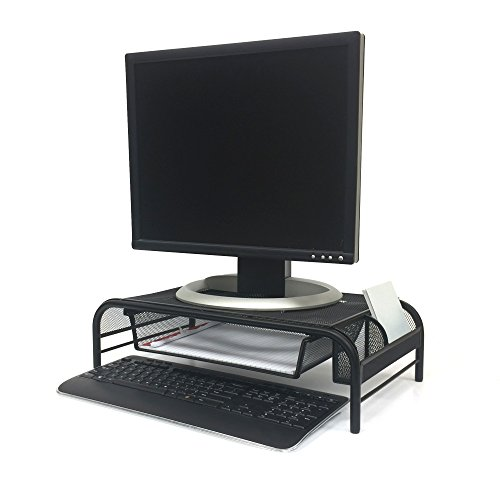 Mind Reader MESHMONSTA-BLK Metal Mesh Monitor Stand and Desk Organizer with Drawer, Black