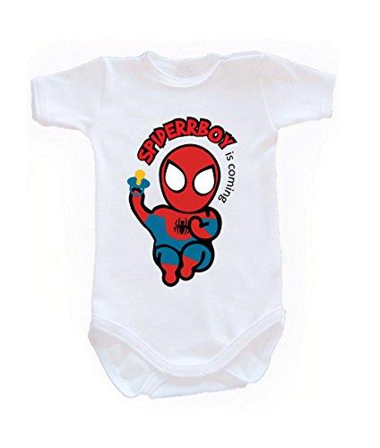 Colour Fashion Body Spiderman à manches courtes 100% 0-24 mois 0003 (0-3 mois, 62 cm, blanc)