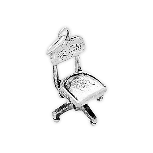 TheCharmWorks Sterlingsilber Bürostuhl Charmanhänger | Sterling Silver Office Chair Charm