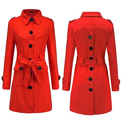 Parka - Chaqueta cortavientos para mujer, color sólido, cálido, con un solo botonadura y bolsillo de solapa con cinturón Wancooy, rosso, M