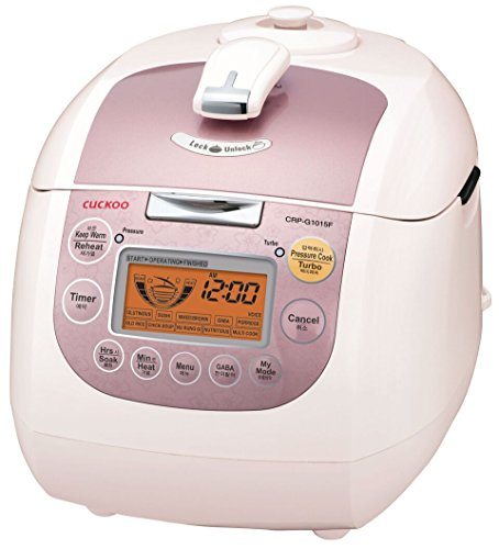 Cuckoo CRP-G1015F 10 Cup Heating Plate Pressure Rice Cooker, 11 Menu Options, Made in Korea, Stainless Steel Inner Pot, White/Pink