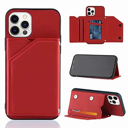 Funda para Samsung Galaxy A51, a prueba de golpes, de piel sintética, con tapa y tapa para portátil, con tarjeta de identificación, con cierre magnético, para Samsung Galaxy A51, color rojo