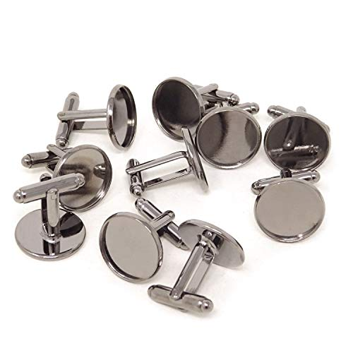 Honbay 10PCS(5 Pairs) 16mm Brass French Style Cufflink with Blank Round Tray for 16mm Round Cabochons (Gun Black)