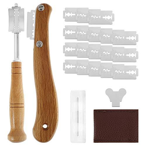 2 PCS Cuchillos de Pan para Hornear Herramienta de Corte Pan Profesional para Masa Mango de Madera de Acero Inoxidable con 20 Cuchillo Reemplazables DIY