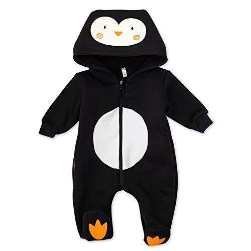 Baby Sweets Baby Tier Strampler Unisex schwarz im Motiv: Pinguin/Baby-Overall als Tierstrampler mit Kapuze für Neugeborene & Kleinkinder in der Größe 0-3 Monate (62)