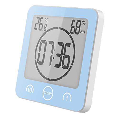 YanFeng Badezimmer-Uhr Wasserdicht, Digitale Thermometer Hygrometer Luftfeuchtigkeit Temperatur Wanduhren Dusche Wecker mit Countdown Timer, 3 Montagemethoden, für das Home Office