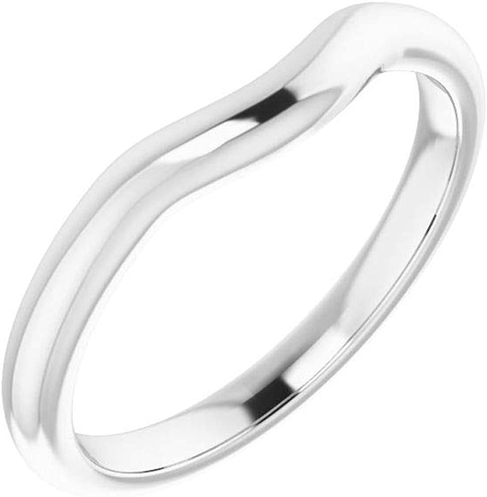 Solid Denver Mall Ranking TOP12 14K White Gold Curved Notched for R Wedding 7mm Band Round