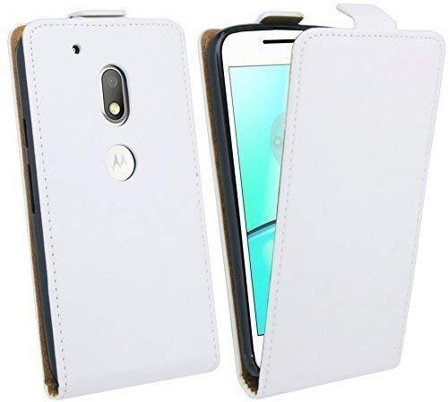 ENERGMiX Handytasche Flip Style kompatibel mit Lenovo Moto G4 Play in Weiß Klapptasche Tasche Schutz Hülle