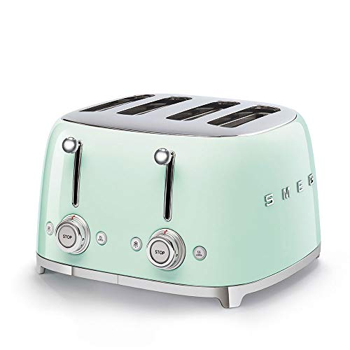 Smeg TSF03BLUK Retro 4 Slice Broodrooster, 4 Extra-Wide Slots, 6 Browning Levels, Automatische Pop-Up, Verwijderbare Crumb Lade Pastel Groen