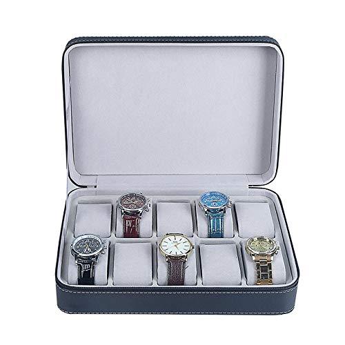 Caja para Relojes Hombre Cajas para Joyas Mujer Caja Relojes Regalo Caja de Almacenamiento de Exhibición de Colección con Cremallera Cuero Artificial 28 * 20 * 7.5Cm, 10 Lugares