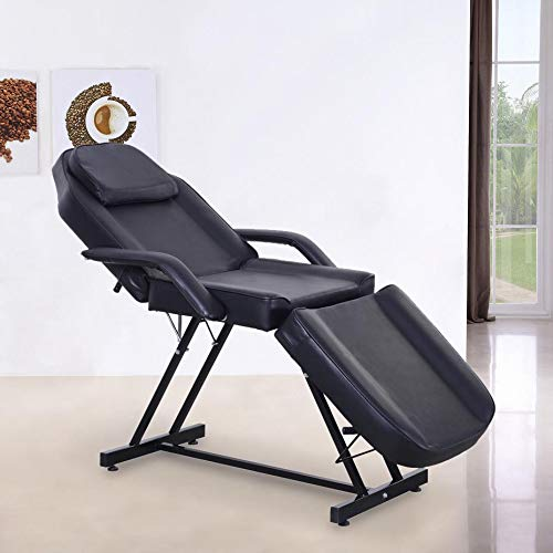 Massage Facial Tattoo Bed Adjustable Table Chair Beauty Spa Salon Chairs (Black)