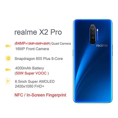 """realme X2 Pro smartphone Cellulari, 6,5"""" 8 GB 128 GB Snapdragon 855 Plus Octa-Core, Quad Camera 64 MP + 16 MP, Dual Sim telefono, Versione Europea (Blu)"""