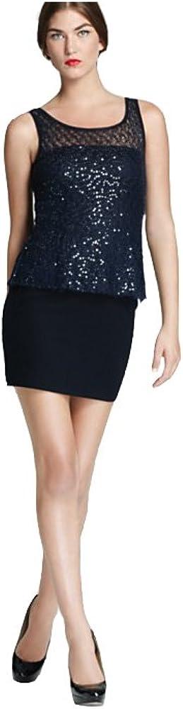 Bailey 44 Peplum Vision of Disorder Sequin Dress, Navy, 0