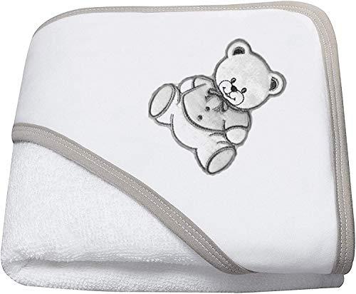 NOSBEBES® Sortie de bain brodé, peignoir, ensemble bebe Cape avec gant, 100% COTON idee cadeau naissance bébé Serviette à capuchon pour bébé, Serviette de Bain Bébé (BLANC GRIS OURS)