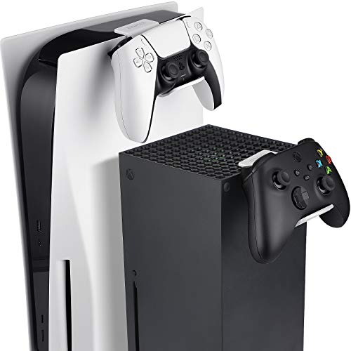 ZENACCE Game Controller Holder Compatible with PS5 and Xbox Series X, Controller Stand Mount for Playstation 5 DualSense and Xbox Series X Controllers, No Screws & No Adhesive Tape - White
