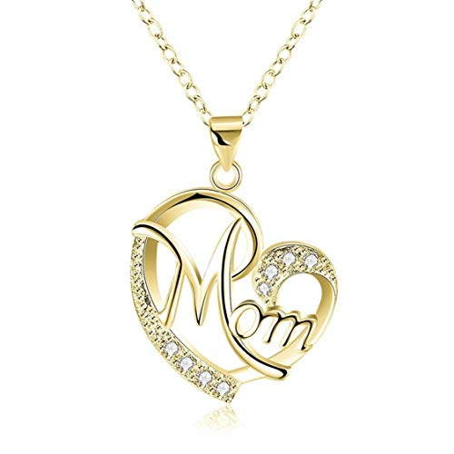Idiytip Personalised Diamond Heart Shaped Mom Clavicle Chain Mother's Day Ornament Jewellery Gifts for Women Necklace,Golden
