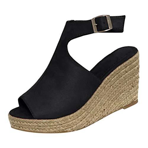 Luckycat Sandalias de Mujer Plataforma Costura Peep Toe Cuñas Hasp Sandalias Zapatos Flatform Sandalias Mujer Cuña Alpargatas Plataforma Zapatos de Boca de Pescado Sandalias de Punta Abierta