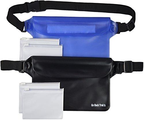 GO BACK TRAIL Waterproof Pouch Set – Includes 2 Large Heavy Duty Dry Pouches Plus 4 Bonus Valuable Bags – Adjustable Waistband – for Men, Women or Kids – Protect Cash, Credit Cards, Keys Smartphones