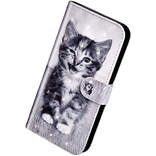 Herbests Kompatibel mit iPhone 11 Pro Max Hülle Klapphülle Leder Tasche Flip Schutzhülle Wallet Handyhülle 3D Bunt Muster Glänzend Bling Glitzer Brieftasche Handytasche Case,Niedlich Katze