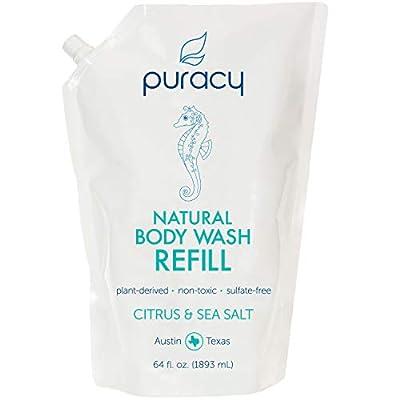Puracy Natural Body Wash Refill, Citrus & Sea Salt, Bath & Shower Gel for Men and Women, 64 Ounce