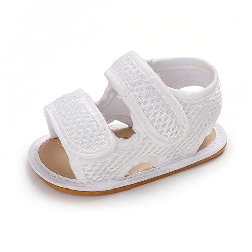 Sandalias Bebe Niña Verano Zapato Bebé Recién Nacido Plano Antideslizante Blanco 6-12...