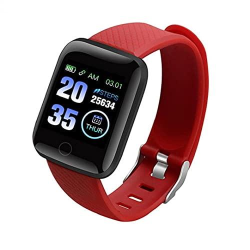 FeelMeet Pulsera Inteligente Inteligente Reloj Bluetooth 116Plus teléfono Reloj de la Aptitud de la presión Arterial de Prueba a Prueba de Agua Inteligente Hombres Mujeres Rojo