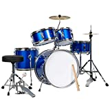 Best Choice Products 5-Piece Kids Beginner All Wood Junior Size Drum Set, Percussion Instrument Starter Kit w/Stool, Drumsticks, Toms, Snare, Hi Hat, Cymbal - Blue