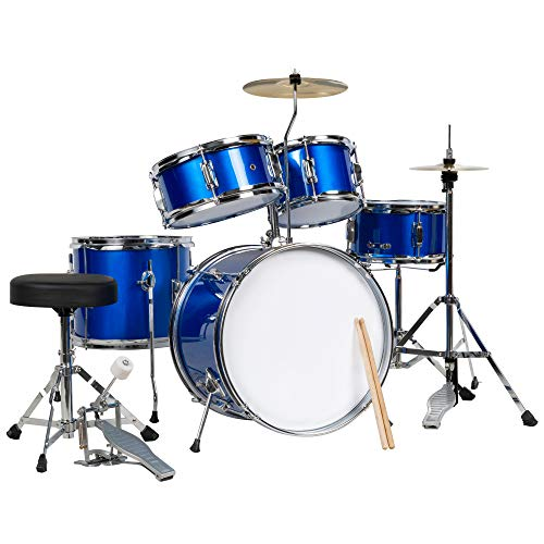 Best Choice Products 5-Piece Kids Beginner All Wood Junior Size Drum Set, Percussion...