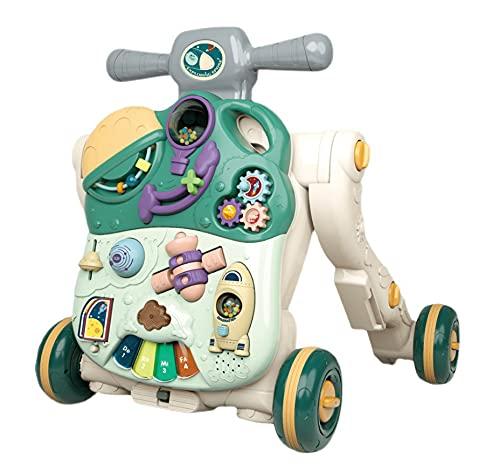 WWJL Juguetes para BebéS Andador para BebéS, Cochecito Andador para BebéS Aprender A Caminar Cinco En Uno Multifuncional Anti-O-Leg, Anti-Vuelco Juguetes para BebéS 6 Meses MáS,Verde