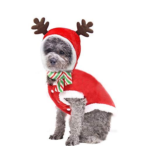 TOPmountain Disfraz de Navidad para perro de Papá Noel con capucha para mascotas y una bufanda para perros pequeños y grandes gatos