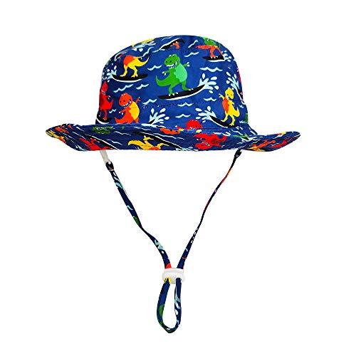 Highdi Sombrero de Sol para Niños Ala Ancha, Sombrero Pescador para Bebé Niño Niña Verano UPF 50+ Impresión Linda con Ajustable Correa de Barbilla Bucket Hat de Playa (Dinosaurio Surf,50cm)