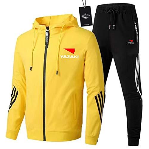 MAUXIAO de Los Hombres Chandal Conjunto Trotar Traje YAZ_AKI-s Hooded Zipper Chaqueta + Pantalones Deporte Y/Amarillo/M
