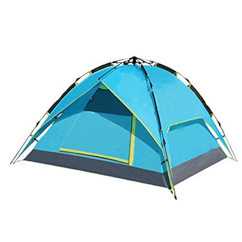 Sylvialuca 3-4 Personnes portatives en Plein air Tente étanche Pliante Corde Automatique tirant avec Double Couches pour Camping randonnée Sac à Dos - Bleu