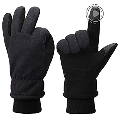 Winter Gloves Windproof Deerskin Suede Leather Touchscreen Thermal Work Gloves