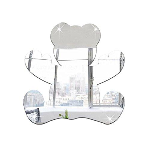 OOFAY& Autocollants muraux de miroir acrylique, décoration de chambre d'enfants 3D ours miroir autocollants , Silver