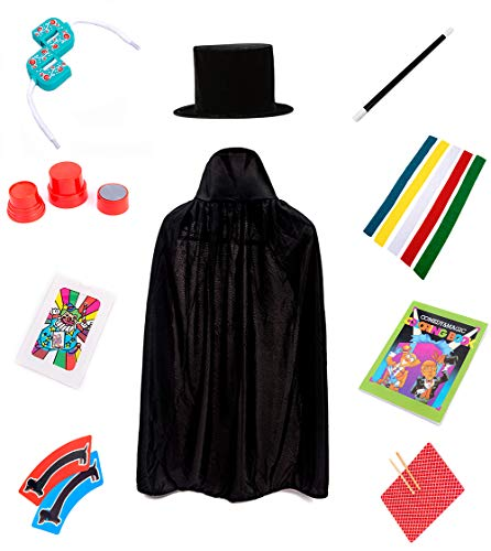 Jufang Young Magician Role Play Kits Magic Cosplay Tricks Set for Kids Contains Magic Hat and Cape Magic Wand Magic Rabbit Puppet Gloves and Color Ribbons (Blue)