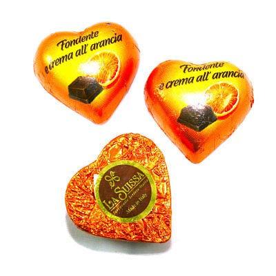 Cioccolatini Cuori Arancioni Gianduia La Suissa Kg 1 - Praline di Cioccolato Fondente Ripiene di Morbida Crema al gusto Arancia - Senza Glutine