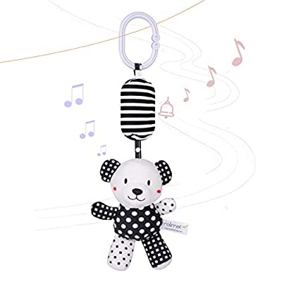 rolimate Baby Toy Cartoon Animal Stuffed Hanging Rattle Toys, Baby Bed Crib Car Seat Travel Stroller Soft Plush Toys with Wind Chimes, Best Birthday Gift for Newborn 0-18 Month (Panda)